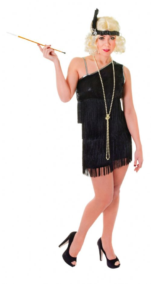 Ladies Flapper Dress Costume 20s 30s Gangsters Moll Fancy Dress Outfit